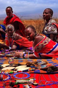 Masai women and their Goods Display